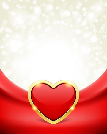 Heart on silk with light Valentine day vector background  Illustration