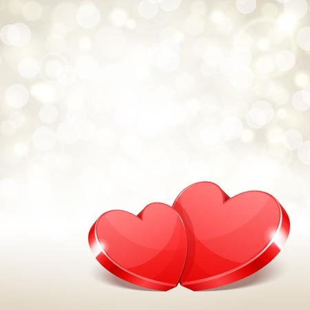 romanticismo: Sfondo di San Valentino due cuori vettore con la luce