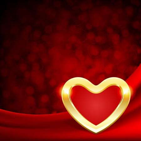 satin round: Heart on silk with light Valentine day vector background  Illustration