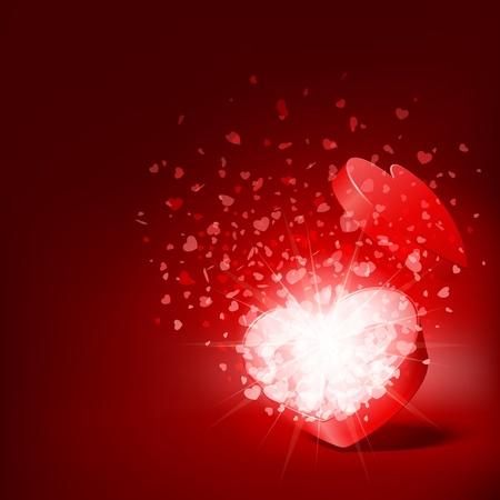 bursts: Dono il cuore aperto e il flusso di cuori sfondo San Valentino vettore