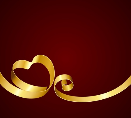 yellow ribbon: Heart from ribbon Valentine day vector background  Illustration