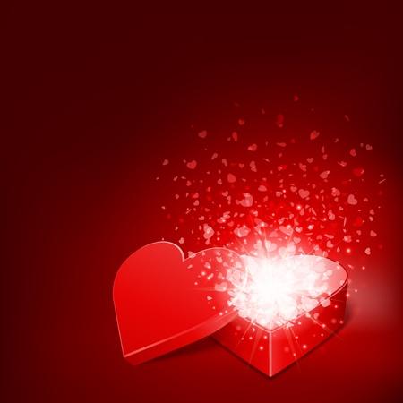 love wallpaper: Regalo de coraz�n abierto y el flujo de fondo vector corazones