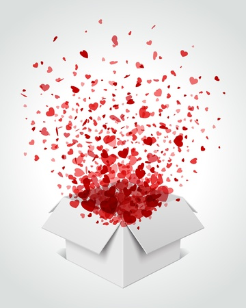 Gift box present with fly hearts Valentine day vector illustration Stock Vector - 11918106