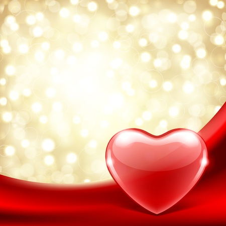 Heart on silk with light Valentine day vector background  Stock Vector - 11917966
