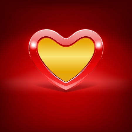 gold heart: Red heart Valentine day vector background