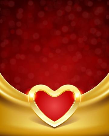 gold decorations: Coraz�n en seda con fondo vector de luz d�a de San Valent�n Vectores