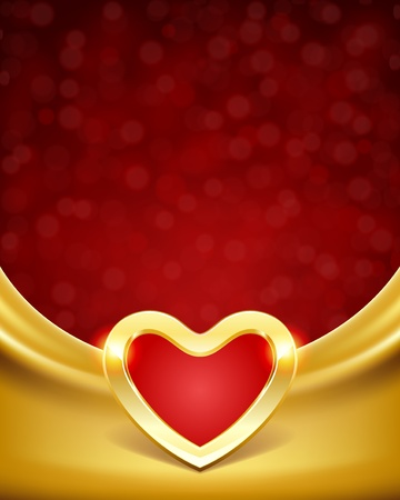 Heart on silk with light Valentine day vector background