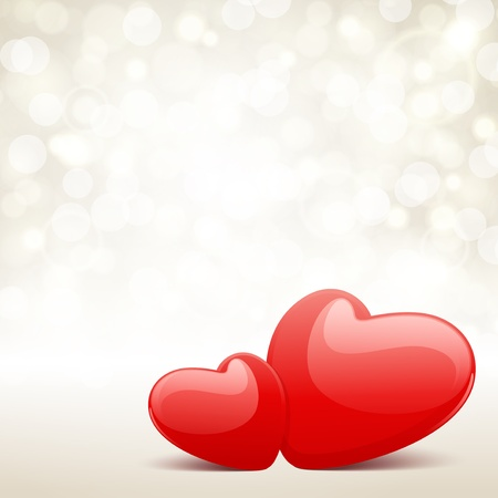 love wallpaper: Valentine day vector background with two hearts and light