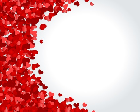 valentines day background: Red hearts confetti Valentines day or Wedding vector background