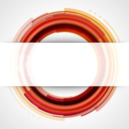 orange cut: Los c�rculos de la tecnolog�a Resumen de vectores de fondo con papel cortado y la sombra