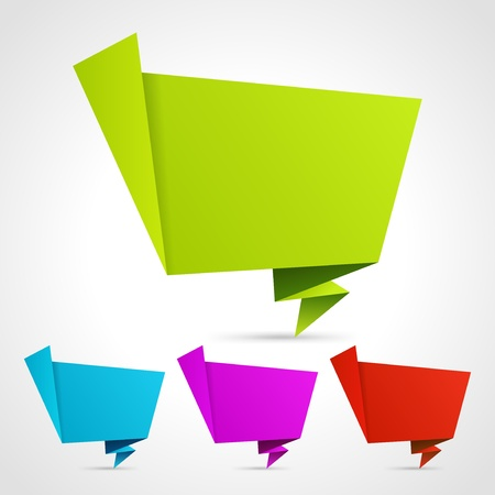Abstract origami speech bubble vector backgrounds set eps 10 Vector