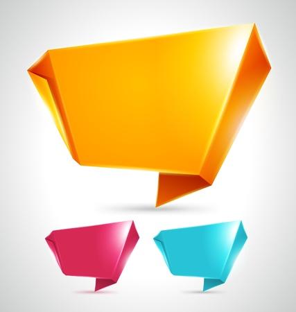 Abstract origami speech bubble vector backgrounds set eps 10 Stock Vector - 13014409