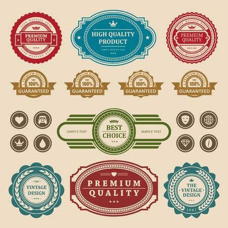 classic car: Vintage style retro emblem label collection vector design elements