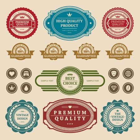 Vintage style retro emblem label collection vector design elements Stock Vector - 13014402