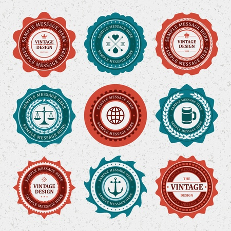 red seal: Vintage style retro emblem label collection vector design elements