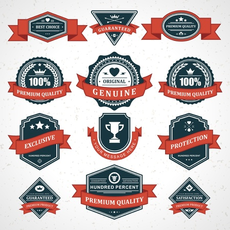 Vintage labels and ribbon retro style set vector design elements Illustration