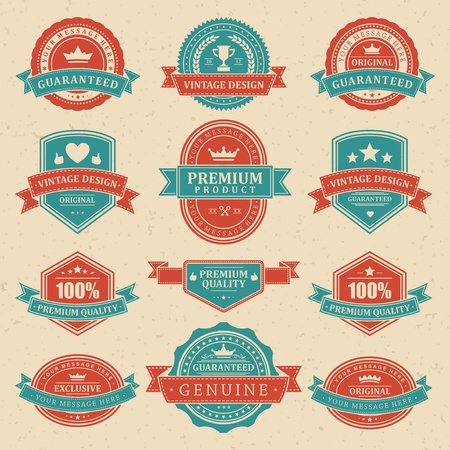 Vintage labels and ribbon retro style set vector design elements Stock Vector - 13014408