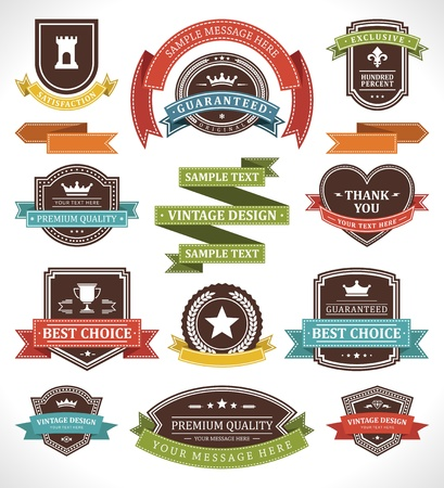 badge icon: Vintage labels and ribbon retro style set vector design elements Illustration