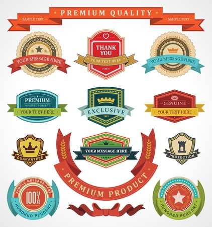 red ribbon: Vintage labels and ribbon retro style set vector design elements Illustration