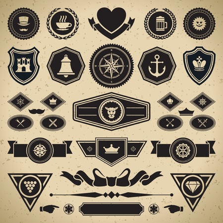 Vintage style retro emblem label collection vector design elements   Stock Vector - 13014396