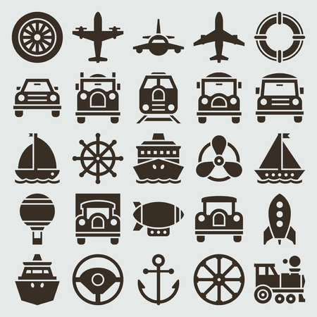 Vintage retro icons transport set vector design elements   Vector