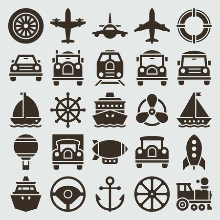 aircraft engine: Vintage retro icons transport set vector design elements