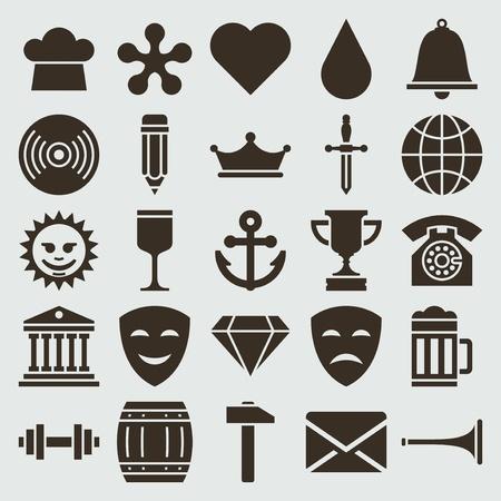 trophy: Vintage retro icons set vector design elements