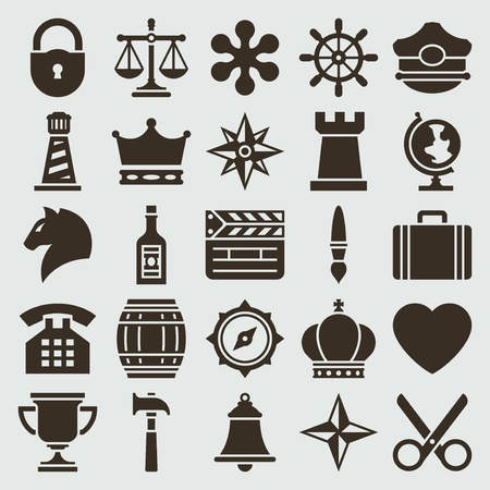 Vintage retro icons set vector design elements   Illustration
