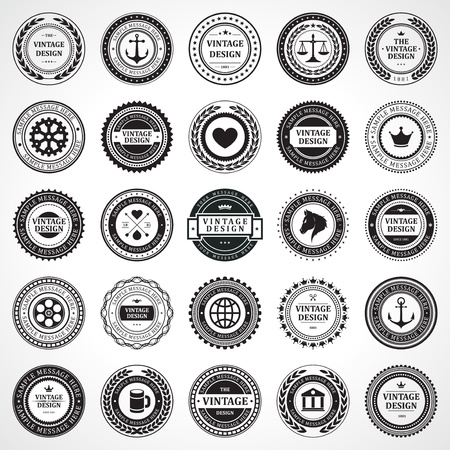 Vintage style retro emblem label collection vector design elements Illustration