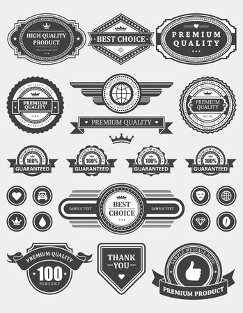 premium: Vintage style retro emblem label collection vector design elements
