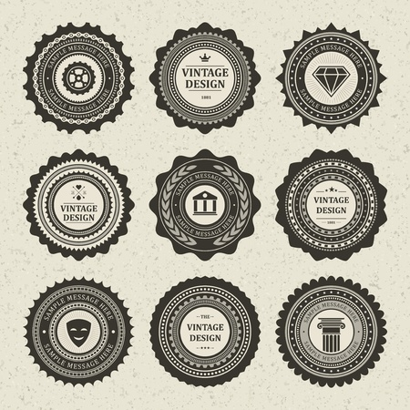 Vintage style retro emblem label collection vector design elements   Stock Vector - 13014435