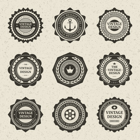 Vintage style retro emblem label collection vector design elements