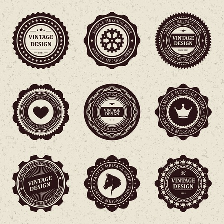 Vintage style retro emblem label collection vector design elements   Stock Vector - 13014434