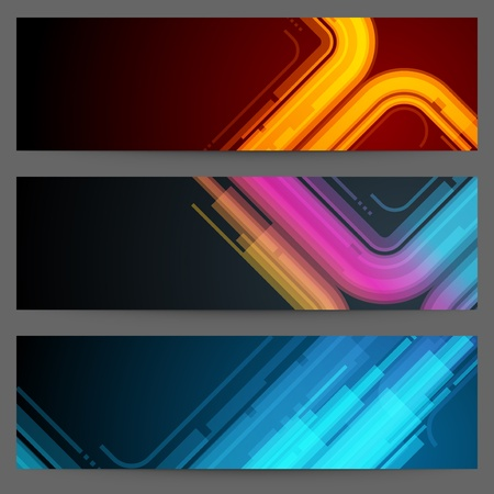 Resumen de vectores bandera de moda o eps cabecera Set 10
