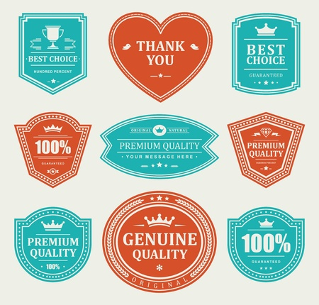 blue shield: Vintage labels set design elements