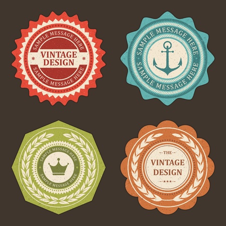 certificate template: Vintage labels set design elements