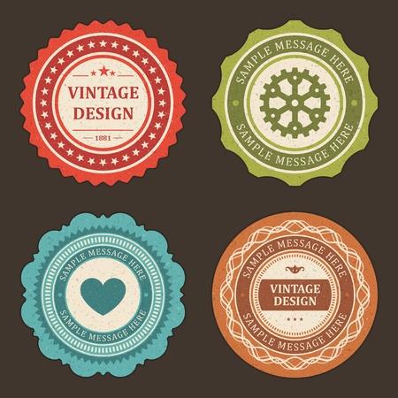 Vintage labels set design elements Vector
