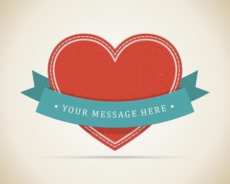 saint valentin coeur: Coeur de cru et le ruban le jour de Valentines