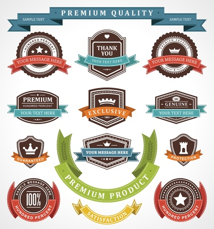 Vintage labels and ribbons set  design elements Vector