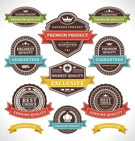 Vintage labels and ribbons set  design elements Stock Vector - 13500803