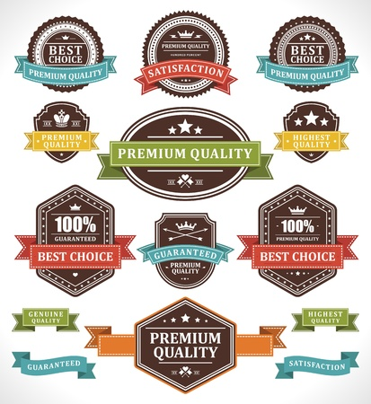 badge shield: Vintage labels and ribbons set design elements Illustration