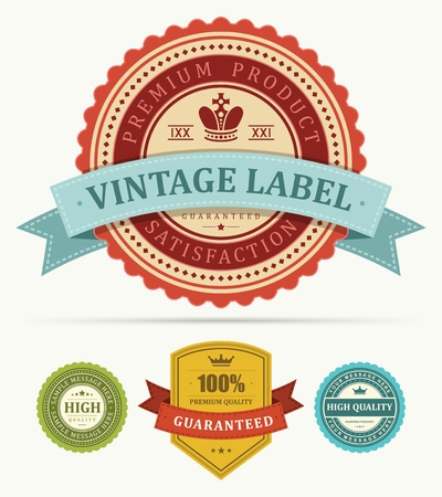Vintage labels and ribbon set design elements Stok Fotoğraf - 13500762