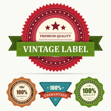 Vintage labels and ribbon set  design elements
