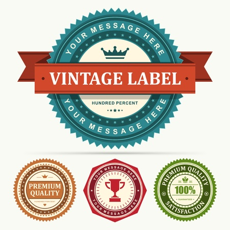 Vintage labels and ribbon set design elements Vector