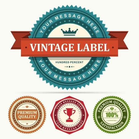 red stamp: Vintage labels and ribbon set design elements