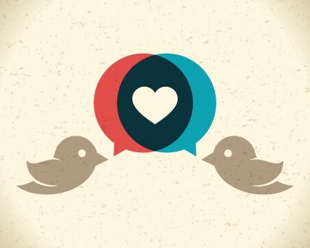 Vintage birds and heart set vector design element Vectores