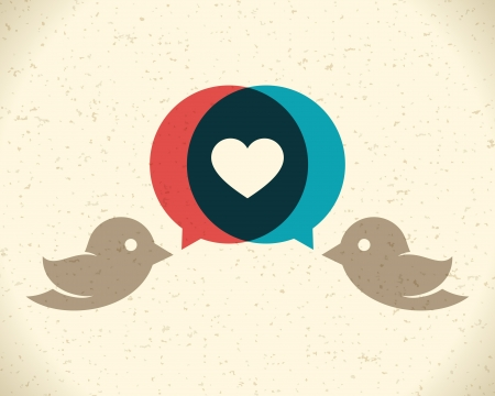 flying birds: Vintage birds and heart set vector design element Illustration