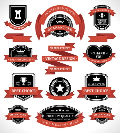 Vintage labels and ribbon retro style set vector design elements Stock Vector - 13908234