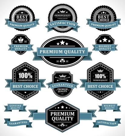 Vintage labels and ribbon retro style set vector design elements Vectores