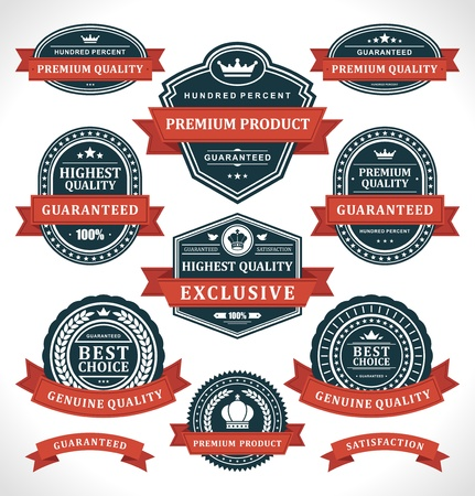 Vintage labels and ribbon retro style set vector design elements Vector